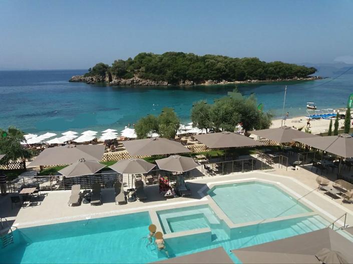 "Exterior Design ""Prima Vista"" Hotel. Pool and island view"