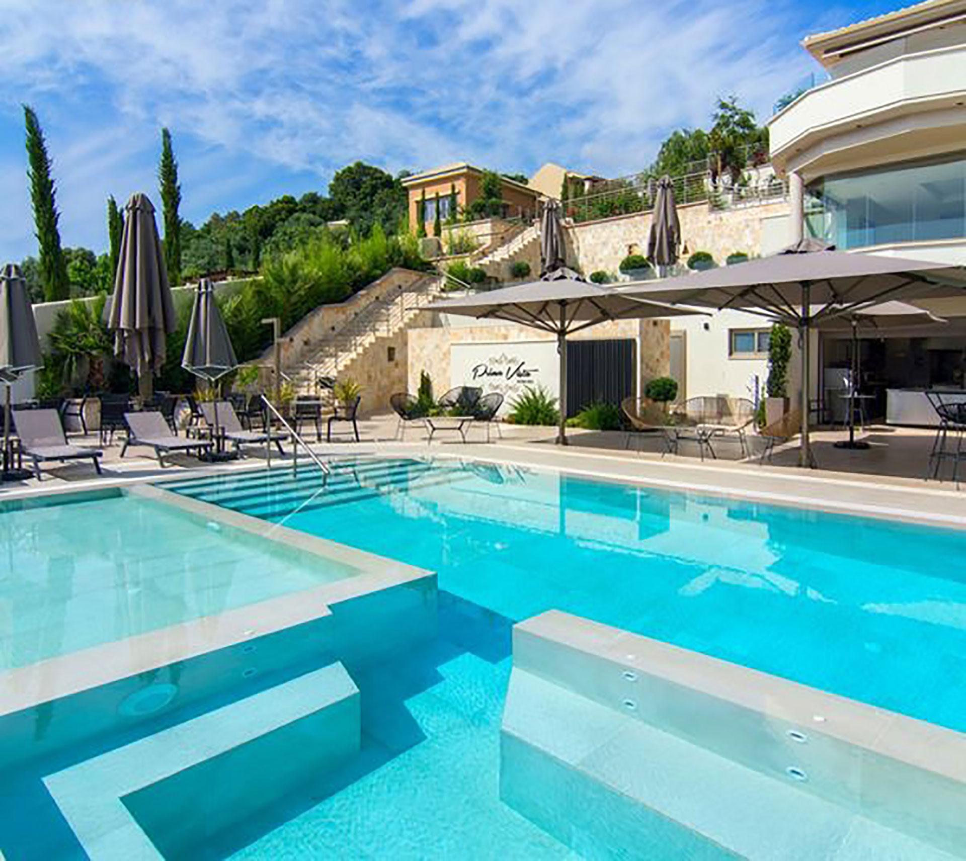 """Exterior Design """"Prima Vista Hotel"""" pool to rooms view"""