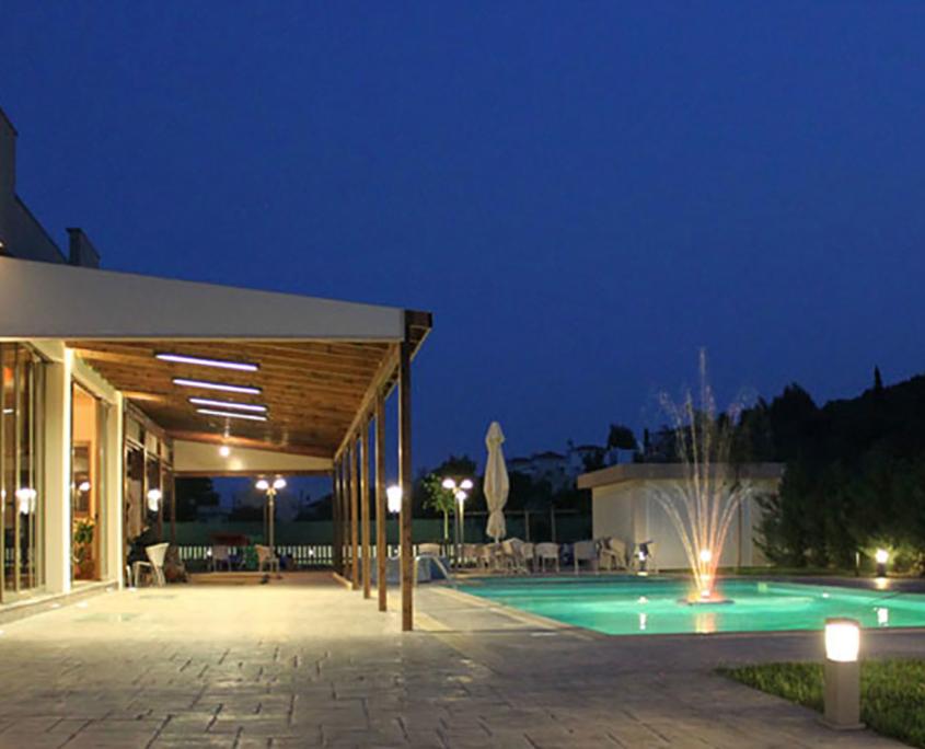 "Exterior Design ""Zeis Edw"" pool at night"