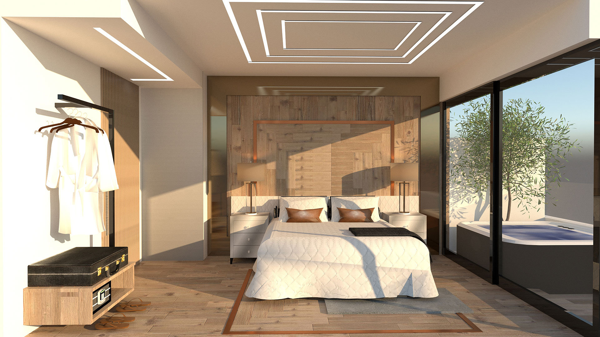 Interior Design Athens Heritage Hotel Bed overview
